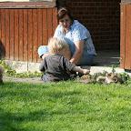 Charlie tilbyder friskplukket græs (han er vant til heste hjemmefra)