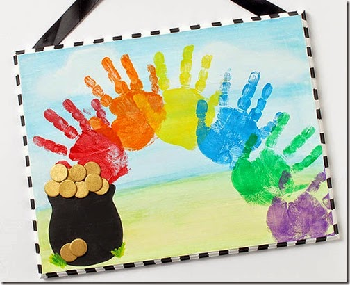 Pot of Gold Rainbow Hand Art