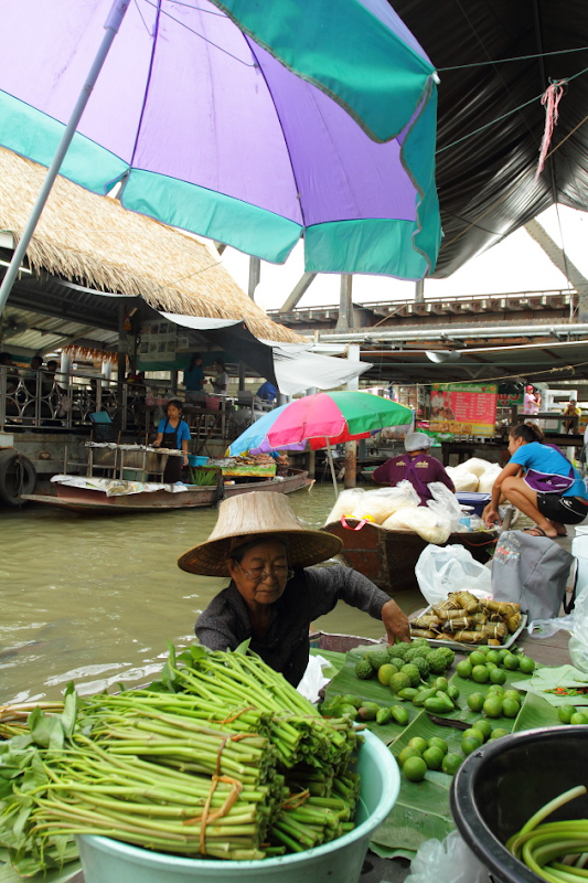 A Taling Chan Floating Market Moment in Bangkok, Thailand