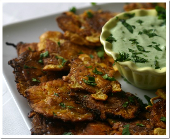 Tostones (fried plantains) with Creamy Garlic Cilantro Dip