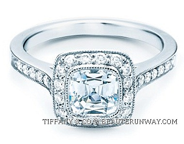 TIFFANY & CO. SETTING LEGACY® DIAMOND WEDDNG ENAGEMENT RING BAND brilliant cushion-cut diamond set with bead-set diamonds Edwardian era glamour brilliance, dispersion scintillation magical moment romantic marriage proposal perfect