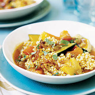 Pearl Couscous with Fall Vegetables and Caramelized Onions.