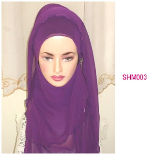 shawl halfmoon plain purple