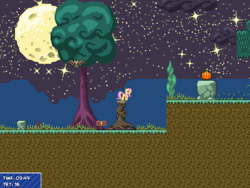 A screenshot of a new Crazy Pony level starring Fluttershy