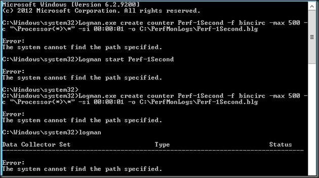 Systems Center - Virtualization: Logman Error : The System