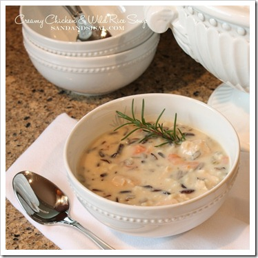 Creamy Chicken & Wild Rice Soup by Sand & Sisal