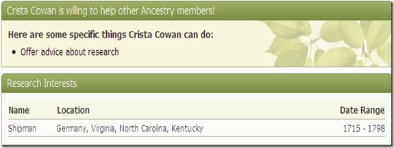 研究兴趣,Ancestry.com个人资料