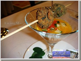 Joemary Grace Balza's Papaya Gazpacho w/spiced veggie skewers