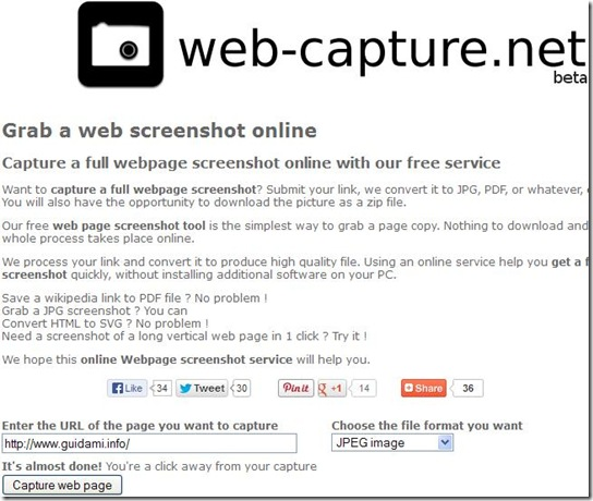 Web-capture net screenshot intera pagina internet