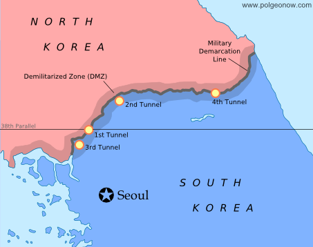 Map of the Military Delimitation Line (armistice line) and Demilitarized Zone (DMZ) separating North and South Korea
