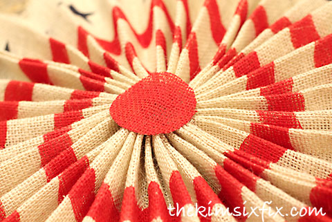 Red white burlap fan