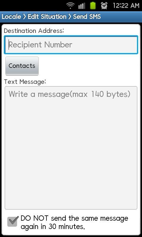 Locale Send SMS Plug-in- screenshot
