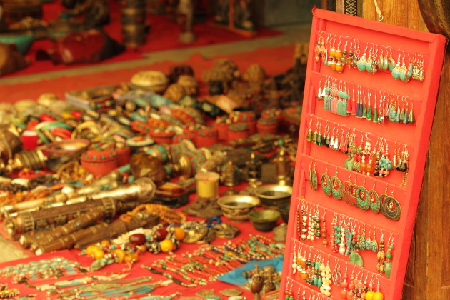 All kinds of local made earings on sale at Thimphu's weekend market