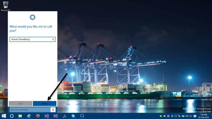 3. How to activate Cortana in Windows 10 - Enter your name