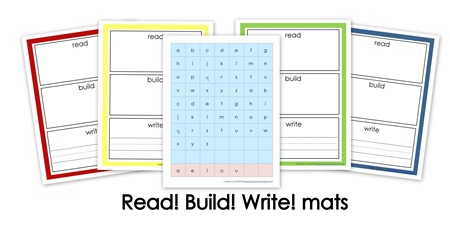 Read, Build, Write Vocabulary Mats