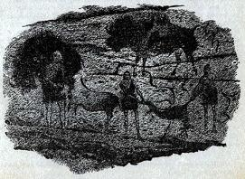 One of the illustrations by van Dongen accompanying the publication in Astounding Science Fiction, British Edition, August 1956, of short story A Nice Little Niche by Herbert L Cooper. Picture shows an alien cave painting illustrating how aliens got weak over a period of time and eventually died out.