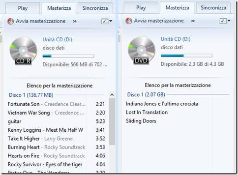 Windows Media Player file aggiunti all'elenco per la masterizzazione
