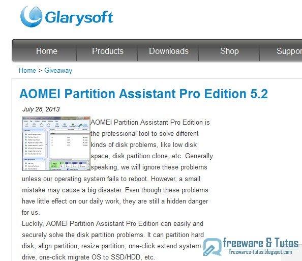 Offre promotionnelle : AOMEI Partition Assistant Professional Edition gratuit (3ème édition) !