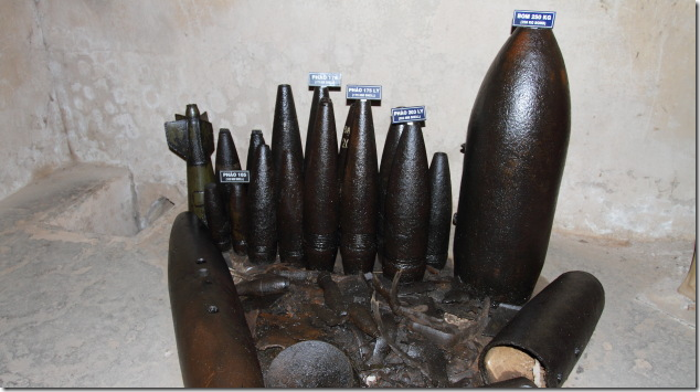 Shells made by Viet Cong displayed at Cu Chi Tunnels