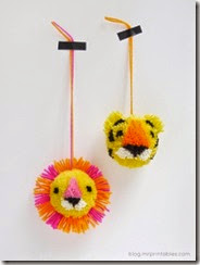 tiger lion pompoms