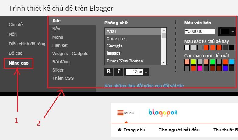 tuy chinh mẫu giao diện blogspot