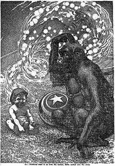 An illustration accompanying the original publication in Thrilling Wonder Stories magazine of short story Baby Face by Henry Kuttner and C L Moore. Image shows the grown up man in baby's body encouraging the gorilla to put on the mind exchange cap.
