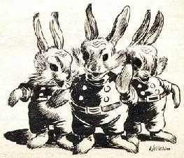 One of the illustrations by Williams accompanying the original publication in Astounding magazine of short story The World is Mine by Henry Kuttner and C L Moore. Image shows 3 rabbit-like Martians from future who want to conquer earth.