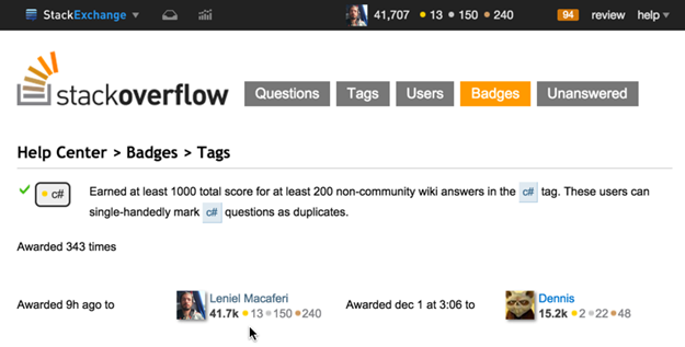 C# gold badge earned at StackOverflow