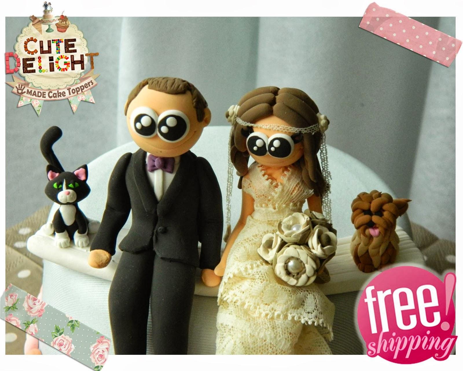 Wedding Cake Topper Custom Made Bride And Groom Vintage Theme