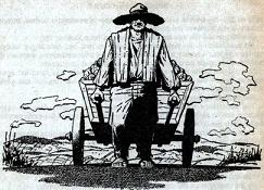 Illustration by van Dongen, accompanying the publication in Astounding, British edition, August 1958, of short story You Take the High Road by Frank Herbert. Image shows a peaceful native of the world Hamal II manually pulling a vegetable cart.