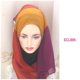shawl chiffon 3 layer brown