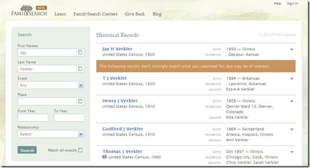 beta familysearch.org在搜索重建中堆积了信息