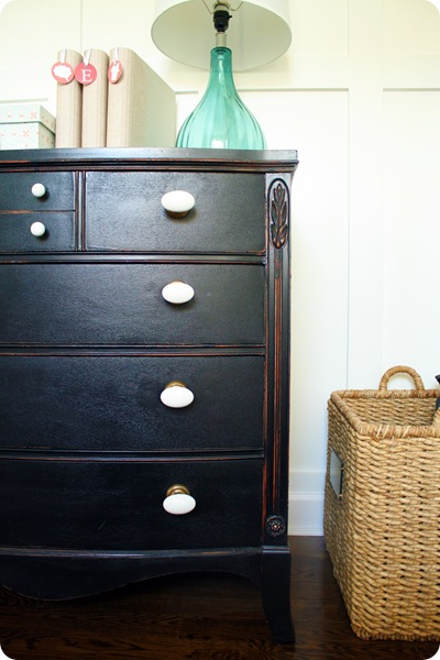 black dresser white knobs