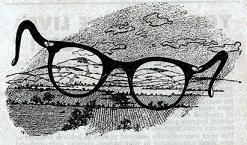 Illustration by van Dongen, accompanying the publication in British edition of Astounding Science Fiction magazine the short story A Pair of Glasses by Jon Stopa