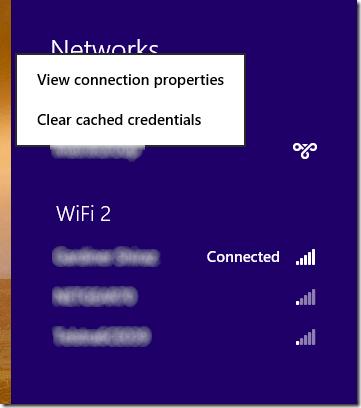Windows 8 VPN context menu