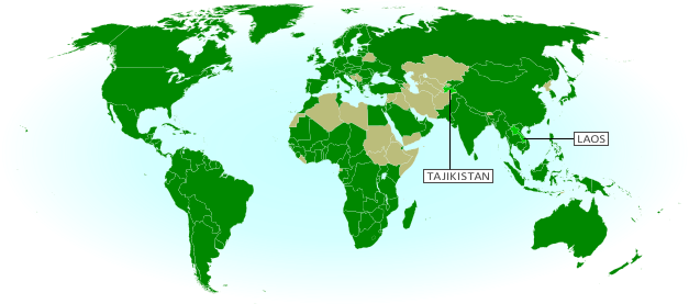 Map of World Trade Organization (WTO) member countries, updated for March 2013 to include new members Laos and Tajikistan