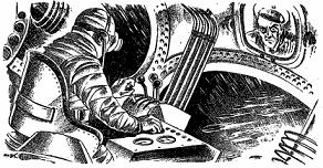 One of the illustrations accompanying the original publication in Thrilling Wonder Stories magazine of the short story Suicide Squad by Henry Kuttner.