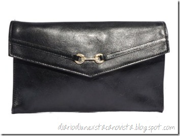 Black Leather Envelope Clutch Gold Horsebit Hardware da etsy