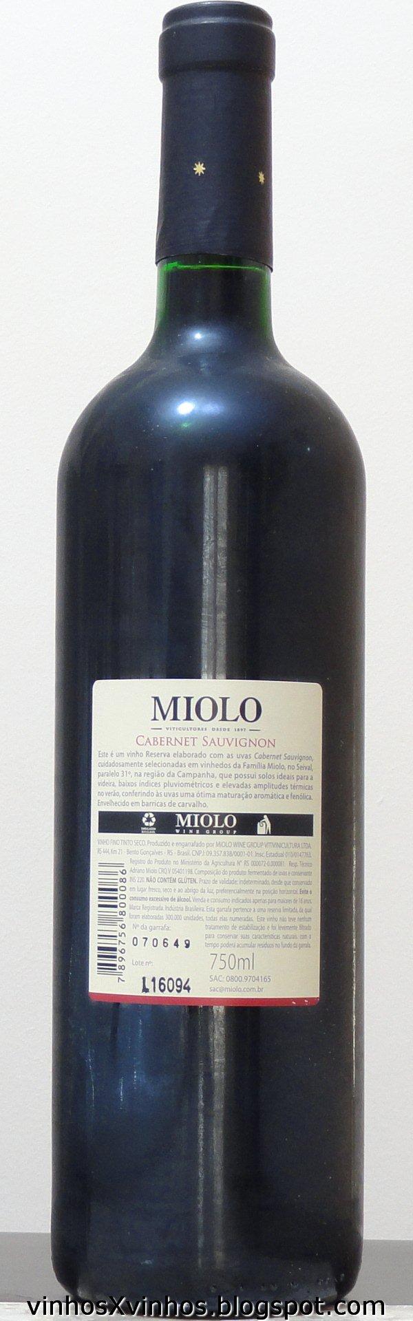 Vinho reserva miolo cabernet sauvignon