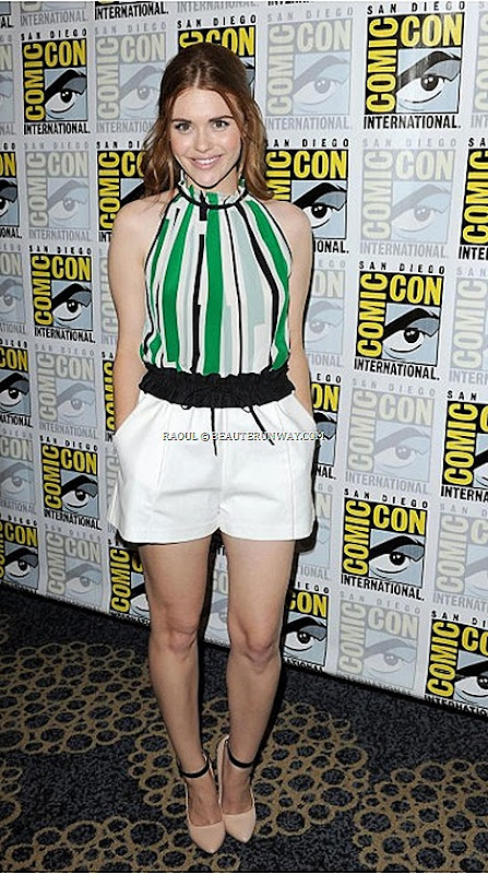 HOLLAND RODEN RAOUL SPRING SUMMER 2013 JACKIE CUT IN BLOUSE silk jellybean strips sleeveless, ruffled collar Lydia Martin MTV's Teen Wolf Comic-Con International San Diego Pre-Fall 2013 Fall Winter 2014 Men's Women's Collection