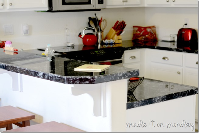 faux countertop treatments the monday kitchen makeover faux granite countertop 685