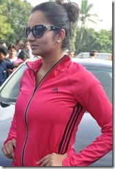 Tennis Player Sania Mirza Latest Hot Photos in Pink Dress