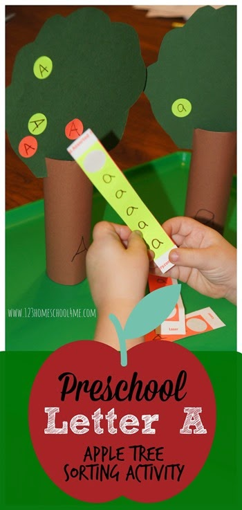 Letter A - Apple Tree Sorting Activity. This is such a fun hands on alphabet activity for toddler, preschool, and kindergarten age kids perfect for fall.