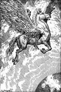 Illustration accompanying the original publication in Famous Fantastic Mysteries magazine of short story Pegasus by Henry Kuttner. Image show the farmboy riding his flying horse.
