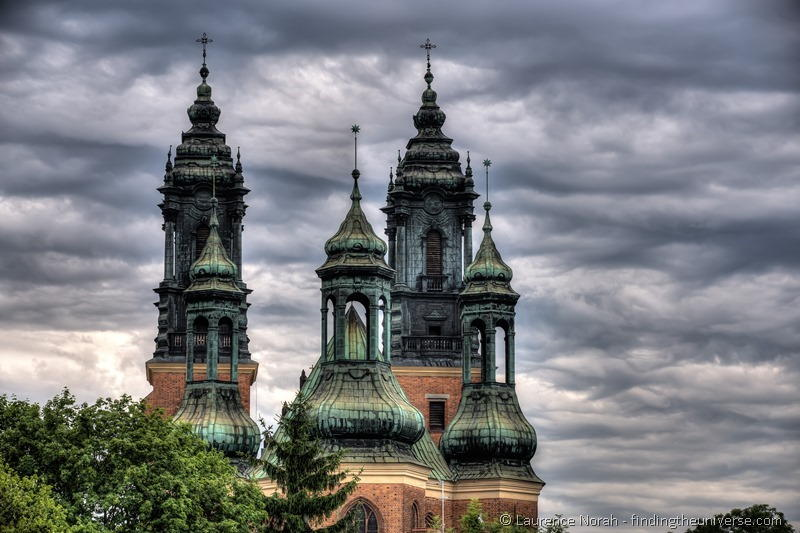 Poznan Cathedral Spires Clouds