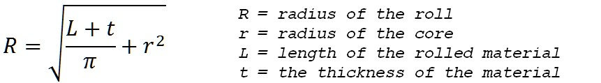 formula for radius of a roll of material