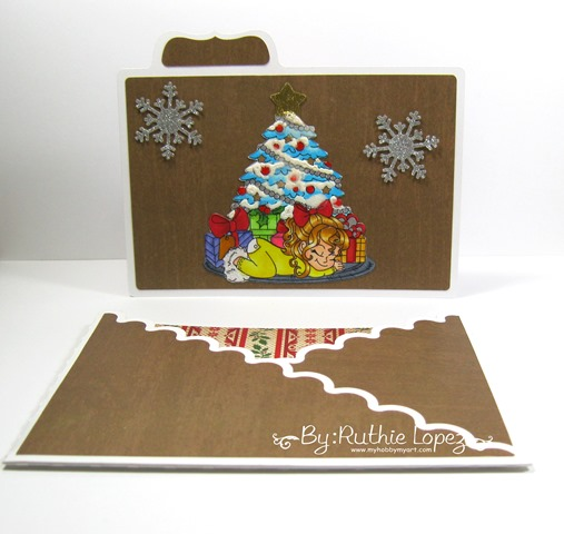 Inky Impressions. Waiting for Santa. Merry Chritsmas. Doble cross card. Ruthie Lopez. 1