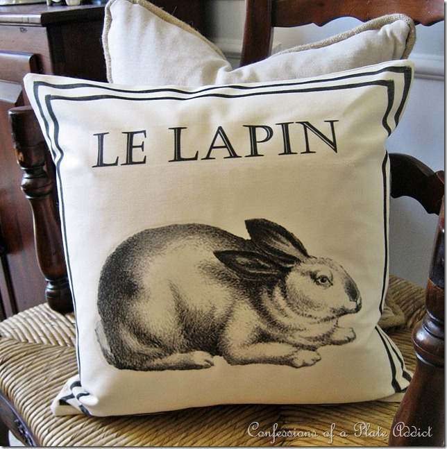 CONFESSIONS OF A PLATE ADDICT Ballard Inspired French Bunny Pillow