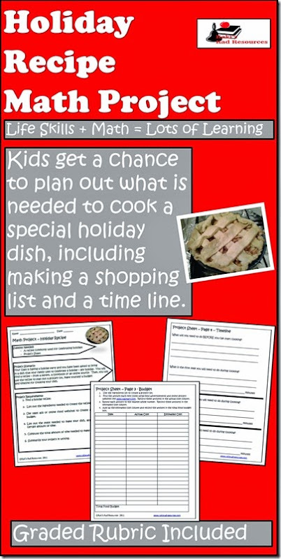 Holiday Recipe Math Project - Free Download from Raki's Rad Resources