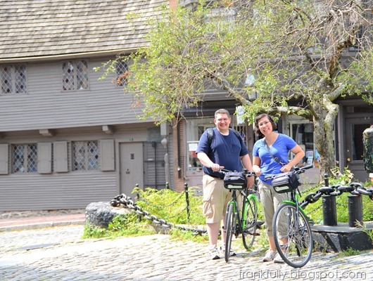 Brandon and Victoria and bikes at Paul Revere's house